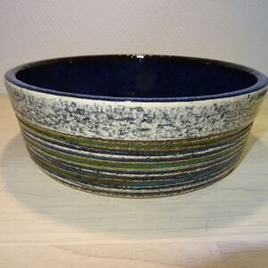 Britt-Louise Sundell, keramik skål i blå og grøn fra Gustavsberg