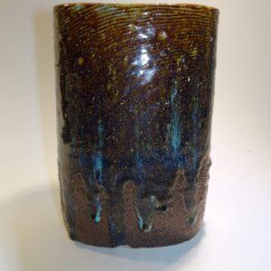 Keramik, stentøj, fajance smuk blålig og brun glasur og indvendig flot lysende turkis glasur.