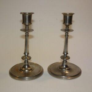 Tin, 2 lysestager, gammel tin, brugt tin