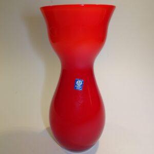 Bergdala rød hvid retro glas vase