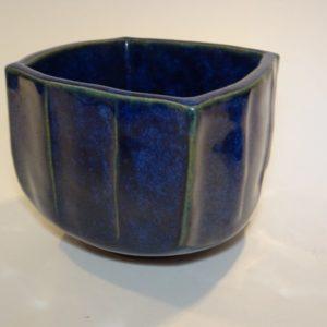 Blå keramik krukke L. Hjorth Bornholm