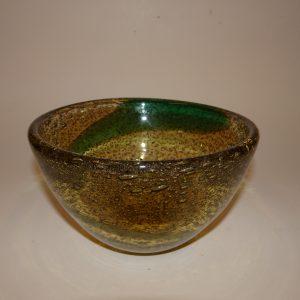 Gunnar Ander, glas skål, Lindshammer. Smuk gylden brun glasur.