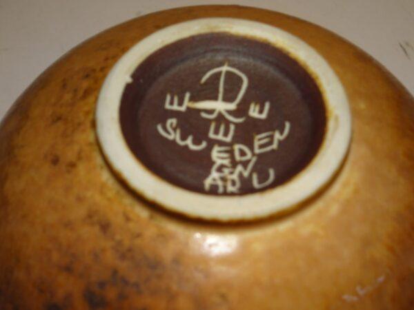 Gunnar Nylund keramik skål i let changerende mat harepels glasur fra Rörstrand