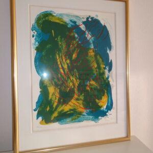 Vibeke Tøjner, Litografi. Gule, blå, grønne og røde farver. Abstrakt maleri.