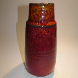 Keramik, vase okseblods glasur, Michael Andersen. Smuk dybrød okseblods glasur