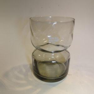 Bulb, hyacintglas i røgfarvet glas, Holmegaard. Klart glas.