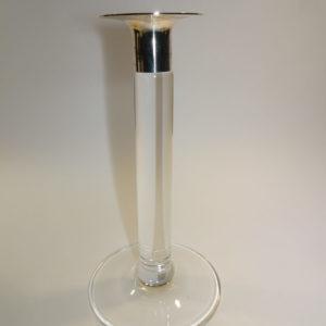 Georg Jensen glas lysestage med sølv manchet
