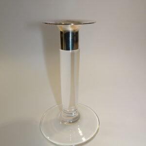 Glas lysestage mellem med sølv krave Georg Jensen