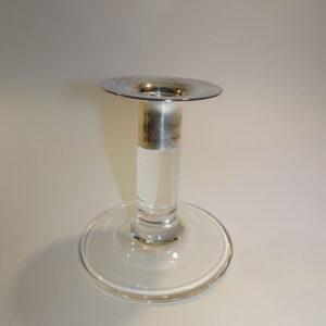 Glas lysestage lille, med sølv krave, Georg Jensen