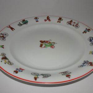 Julius rød flad tallerken, baby børne stel fra Royal Copenhagen, nu udgået