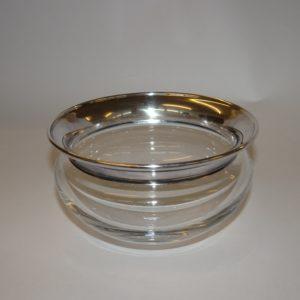 Saturn skål i klart glas med sølv kant 12 cm, Holmegaard
