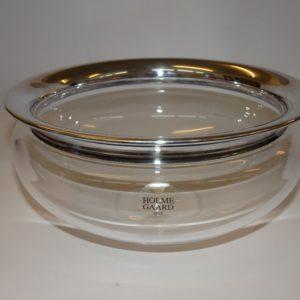Saturn skål i klart glas med sølv kant, Holmegaard