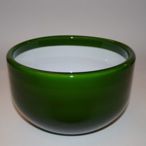 Palet i grøn og hvid skål Holmegaard 16 cm