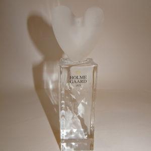 Hearts lysestage i klar og materet glas, Holmegaard