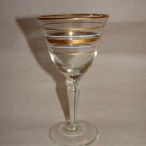 Gammelt glas med guld og hvide striber